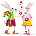 Touching bunnies in a romantic situation with a flower Stock Photo - Royalty-Free, Artist: LisaShu                       , Code: 400-04292056