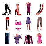 woman and female clothes icons - vector icon set