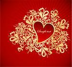 Heart to the St.Valentine on a red background