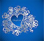 Heart to the St.Valentine on a blue background Stock Photo - Royalty-Free, Artist: emaria                        , Code: 400-04292841