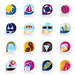 Realistic Summer and Holiday Icons - Vector Icon Set Stock Photo - Royalty-Free, Artist: stoyanh                       , Code: 400-04293524