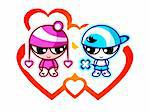 Cute kids in first Valentine love with hearts Stock Photo - Royalty-Free, Artist: sahua                         , Code: 400-04294490