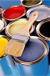 Paint cans, brush and other decoration equipment Stock Photo - Royalty-Free, Artist: FikMik                        , Code: 400-04294668