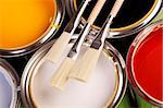 Paint cans, brush and other decoration equipment Stock Photo - Royalty-Free, Artist: FikMik                        , Code: 400-04294705