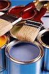 Paint cans, brush and other decoration equipment Stock Photo - Royalty-Free, Artist: FikMik                        , Code: 400-04294756