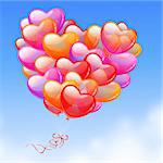 Colorful Heart Shaped Balloons in the sky Stock Photo - Royalty-Free, Artist: avian                         , Code: 400-04294983