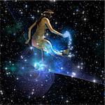 Celesta, spirit creature of the universe, spreads stars throughout the cosmos. Stock Photo - Royalty-Free, Artist: Catmando                      , Code: 400-04296357