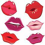 Set of glossy lips in tender kiss. Vector illustration.
