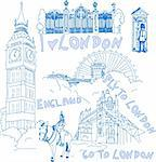 London hand drawn doodles of different sights. Stock Photo - Royalty-Free, Artist: Linneae                       , Code: 400-04297215