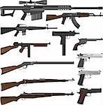 Layered illustration of different guns in vector. Stock Photo - Royalty-Free, Artist: tshooter                      , Code: 400-04297535