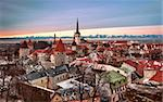 Overview of Tallinn in Estonia taken from the overlook in Toompea showing the town walls and churches. Taken in HDR to enhance the sunset Stock Photo - Royalty-Free, Artist: backyardproduction            , Code: 400-04298886