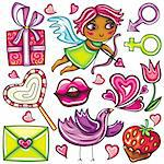 Decorative valentine elements:cute cupid shooting arrows, chocolate dipped strawberry, heart shaped lollipop, love letter present, singing love bird, flower, male and female gender signs