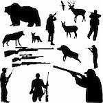 hunting collection silhouettes - vector Stock Photo - Royalty-Free, Artist: bojanovic78                   , Code: 400-04299404