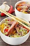 crispy duck breast with fried noodles and vegetables Stock Photo - Royalty-Free, Artist: silencefoto                   , Code: 400-04299833