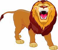 roar lion head picture - Fully editable  illustration of a roaring cartoon Lion Stock Photo - Royalty-Freenull, Code: 400-04300468