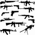 different weapons collection silhouette - vector Stock Photo - Royalty-Free, Artist: bojanovic78                   , Code: 400-04301481