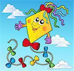 Cartoon kite on blue sky - vector illustration.