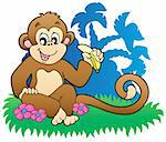 Monkey eating banana near palms - vector illustration. Stock Photo - Royalty-Free, Artist: clairev                       , Code: 400-04302425