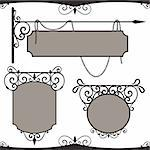 Vintage wrought iron signs. Three vector templates for your design Stock Photo - Royalty-Free, Artist: Vell                          , Code: 400-04302615