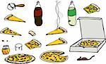 Cartoon illustrations of multiple isolated pizza related elements for any use. Stock Photo - Royalty-Free, Artist: theblackrhino                 , Code: 400-04302812