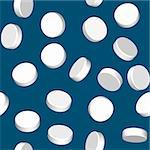 Abstract dark blue background with three dimensional white pills. Seamless pattern for your design. Vector illustration. Stock Photo - Royalty-Free, Artist: boroda                        , Code: 400-04302893