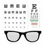 vector Snellen eye test chart with glass isolated on white background. Stock Photo - Royalty-Free, Artist: sermax55                      , Code: 400-04303027