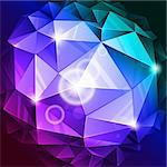 vector rumpled abstract sphere with blue and lilac colors