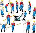 Team of Construction workers in blue work wear an yellow helmets. Vector illustration. Other vector people in my portfolio.