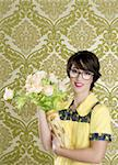 housewife nerd retro woman ugly flowers vase vintage wallpaper Stock Photo - Royalty-Free, Artist: lunamarina                    , Code: 400-04304426