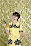 housewife nerd retro unhappy iron chores vintage wallpaper Stock Photo - Royalty-Free, Artist: lunamarina                    , Code: 400-04304429