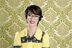 nerd woman retro portrait 70s wallpaper vintage housewife Stock Photo - Royalty-Free, Artist: lunamarina                    , Code: 400-04304433