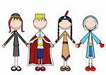 Vector illustration of four kids holding hands in costumes Stock Photo - Royalty-Free, Artist: nahhan                        , Code: 400-04306005