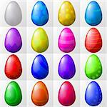 Easter eggs with various colour patterns, holiday symbol, vector eps10, set Stock Photo - Royalty-Free, Artist: alexokokok                    , Code: 400-04306213