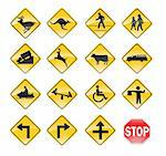 Road Signs yellow Stock Photo - Royalty-Free, Artist: zabiamedve                    , Code: 400-04307572