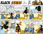 Black Ducks Comic Strip episode 55 Stock Photo - Royalty-Free, Artist: izakowski                     , Code: 400-04307627