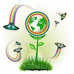 Eco Earth flowers, garden, butterflies with rainbow jets