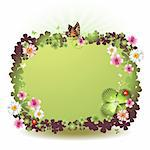 St. Patrick's Day background with flowers and butterflies Stock Photo - Royalty-Free, Artist: Merlinul                      , Code: 400-04308185