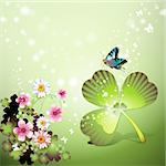 St. Patrick's Day background with flowers and butterflies Stock Photo - Royalty-Free, Artist: Merlinul                      , Code: 400-04308186