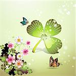 St. Patrick's Day background with flowers and butterflies Stock Photo - Royalty-Free, Artist: Merlinul                      , Code: 400-04308188