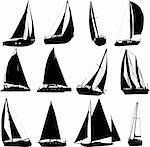 sailing boat silhouettes - vector