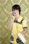 nerd housewife retro woman dial vintage wired phone 70s wallpaper Stock Photo - Royalty-Free, Artist: lunamarina                    , Code: 400-04309361