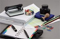Office stationery over gray background Stock Photo - Royalty-Freenull, Code: 400-04309380