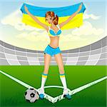 Ukrainian girl soccer fan. Illustration in vector format EPS Stock Photo - Royalty-Free, Artist: orensila                      , Code: 400-04309856