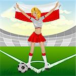 Polish girl soccer fan. Illustration in vector format EPS Stock Photo - Royalty-Free, Artist: orensila                      , Code: 400-04309862
