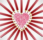 heart frame with red color pencils vector background Stock Photo - Royalty-Free, Artist: emaria                        , Code: 400-04310203