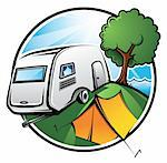 An idyllic camping area with a caravan, a tent and a tree on a sunny day Stock Photo - Royalty-Free, Artist: ThomasAmby                    , Code: 400-04310536