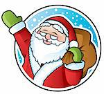 Happy Santa Claus carrying a sack of Christmas presents Stock Photo - Royalty-Free, Artist: ThomasAmby                    , Code: 400-04310538