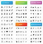 150 vector icons divided into five categories (internet, economy, audio, misc. media and environment) Stock Photo - Royalty-Free, Artist: ThomasAmby                    , Code: 400-04310552