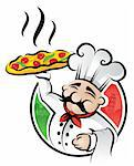 Illustration of an italian cartoon chef with a freshly baked pizza Stock Photo - Royalty-Free, Artist: ThomasAmby                    , Code: 400-04310553