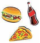 Vector illustration of various fast food (burger, cola and pizza slice) Stock Photo - Royalty-Free, Artist: ThomasAmby                    , Code: 400-04310557